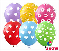 """Латексные воздушные шарики горошек микс 12"""" (30 см)  ТМ Show"""