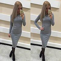 Платье женское. Ткань французский трикотаж. Цвет серый. Размер S M.LK 1017
