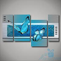 Модульная картина Голубые бабочки из 4 фрагментов, фото 1