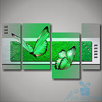 Модульная картина Зелёные бабочки из 4 фрагментов