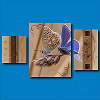 Модульная картина Две бабочки на колоске из 3 фрагментов, фото 1