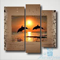Модульная картина Дельфины из 3 фрагментов, фото 1