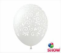 """Латексные воздушные шарики узоры на прозрачном 12"""" (30 см)  ТМ Show"""