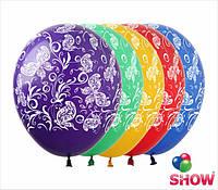 """Латексные воздушные шарики узоры и бабочки 12"""" (30 см)  ТМ Show"""