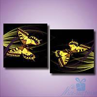 Модульная картина Жёлтые бабочки из 2 фрагментов (72х40), фото 1