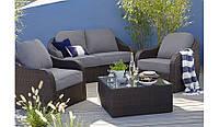 Набор садовой мебели из ротанга  Borneo 4 Piece Conversation Sofa Set ― Dark Brown & Dark Linen