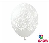 """Латексные воздушные шарики узоры и бабочки на прозрачном 12"""" (30 см)  ТМ Show"""
