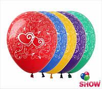 """Латексные воздушные шарики узоры и сердечки 12"""" (30 см)  ТМ Show"""