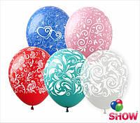 """Латексные воздушные шарики узоры микс 12"""" (30 см)  ТМ Show"""