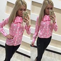 Рубашка женская. Ткань креп-шифон. Цвет черный и розовый в принт сердечко. Размер S M. LK 1022