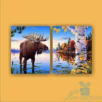 Модульная картина Диптих Лось у озера из 2 фрагментов