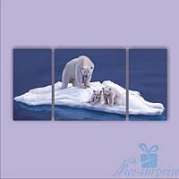 Модульная картина Триптих Мама с малышами из 3 фрагментов