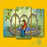 Модульная картина Триптих Павлин у фонтана из 3 фрагментов