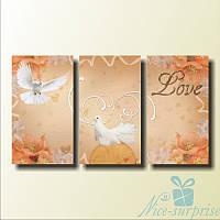 Модульная картина Пара белых голубей из 3 фрагментов, фото 1