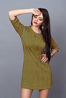 Модное трикотажное платье с карманами цвета горчица