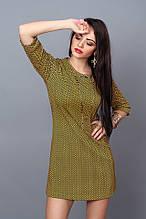 Модное трикотажное платье с карманами цвета горчица 42-46