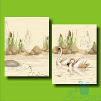 Модульная картина Пара лебедей из 2 модулей