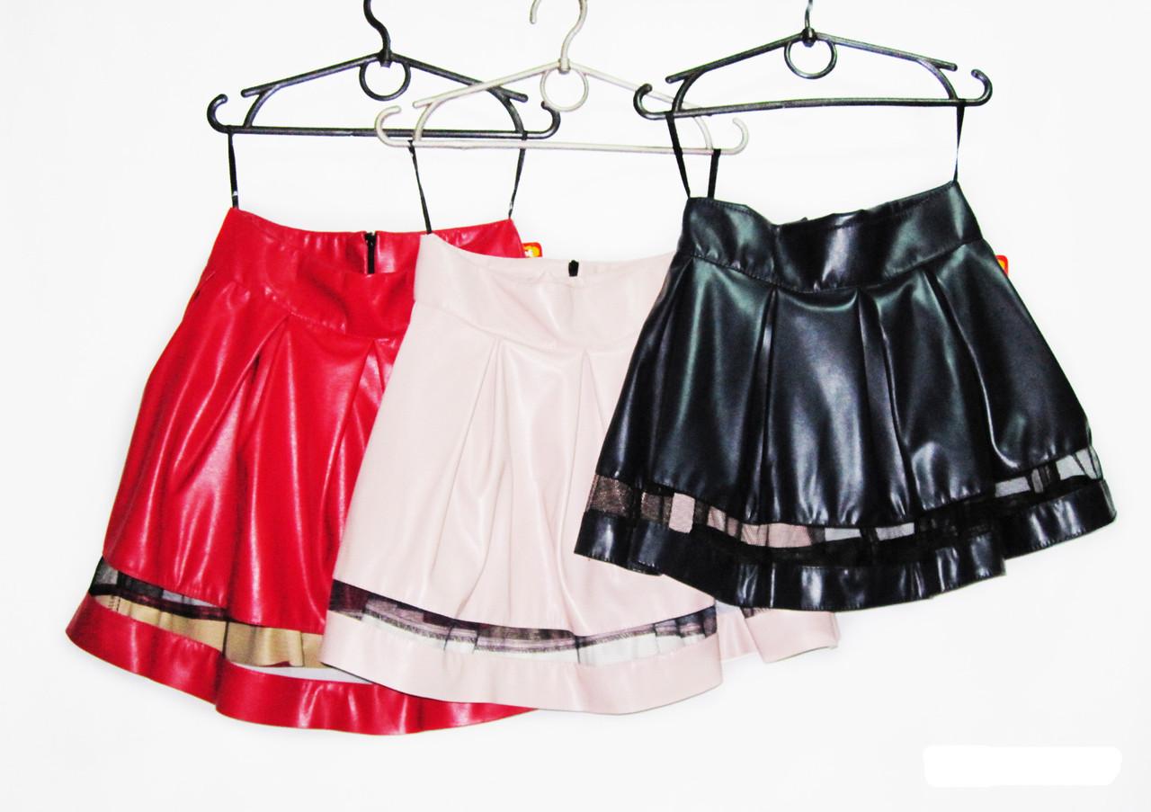 Кожанная юбка для девочки.Новинка Рост 134, 140, 146, 152.