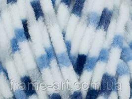Гималая Долфин велюр 100г/120м 80411 меланж белый с голубым