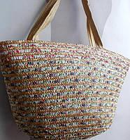 Пляжная сумка солома с текстилём