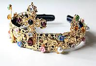 Корона обруч Dolce крест в цветах