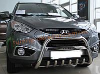 Защита переднего бампера кенгурятник с надписью на Hyundai ix 35