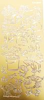 Наклейка 10*23см JEJE Котики, золото