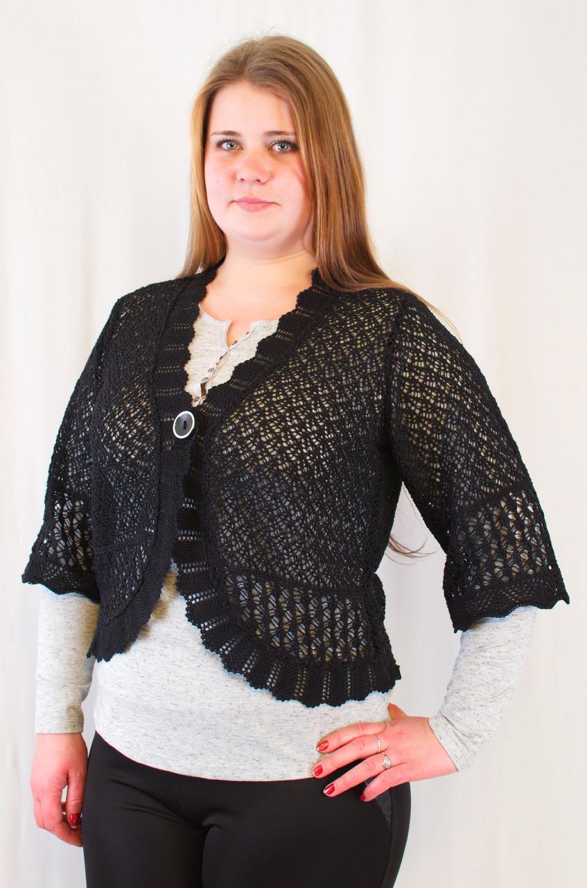 Красиве ажурне жіноче болеро угорський трикотаж великі розміри.