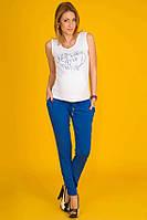 Летние брюки для беременных из штапеля Синий электрик