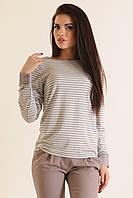 Удобная и эффектная вискозная блуза кофта в стиле Street-casual, в полоску, 42-52 размеры