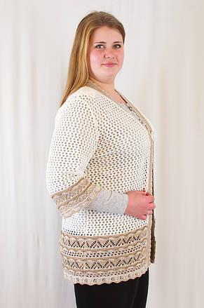Красивая ажурная женская накидка-кардиган с узором волна., фото 2