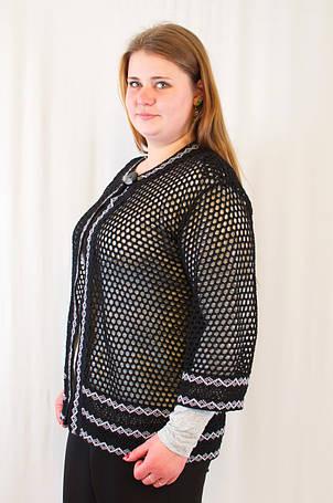 Красива модна жіноча накидка-кардиган з ажурним візерунком ромбик, великі розміри., фото 2