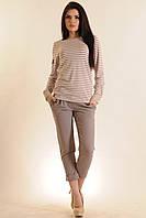 Костюм-двойка, удобная блуза в полоску с коттоновыми элементами и укороченные брюки из костюмки, 42-52 размеры