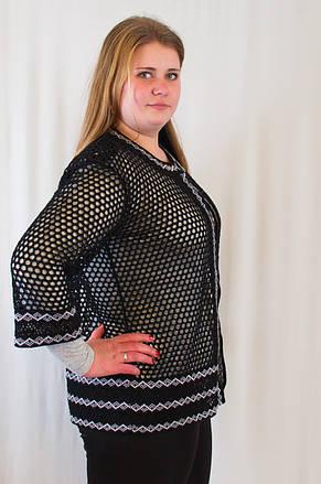 Красивая модная женская накидка-кардиган с ажурным узором ромбик, большие размеры., фото 2