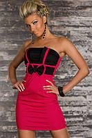 Распродажа по ценам закупки. Черно - розовое платье с бантиком L2909-2