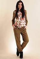Модный оригинальный замшевый спортивный костюм, с цветочным принтом, качественный, 42-52 размеры