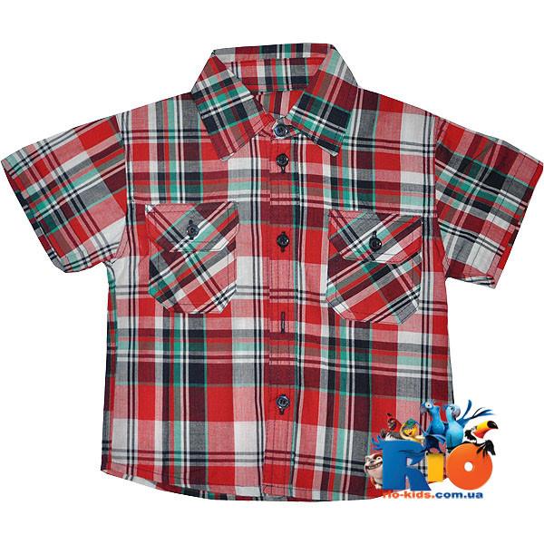 """Детская , летняя рубашка """"Клетка"""", для мальчика (рост 92-98-104-110-116 см)"""