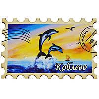 """Магнит """"Марка"""" дельфины радуга  Коблево"""