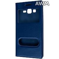 Чехол книжка с окошком для Samsung Galaxy Grand Prime (G530) тёмно-синий