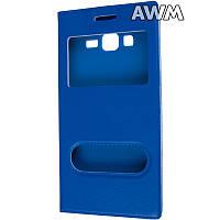 Чехол книжка для Samsung Galaxy Grand Prime (G530) с окошком синяя