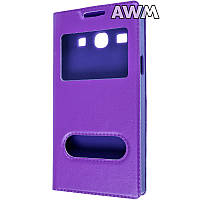 Чехол книжка с окошком для Samsung Galaxy Star Advance (G350) фиолетовый