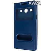 Чехол книжка с окошком для Samsung Galaxy Star Advance (G350) тёмно-синий