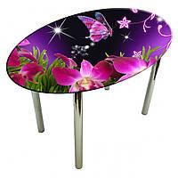 """Стол с фотопечатью на стекле """"Бабочка и цветы"""" овальный"""