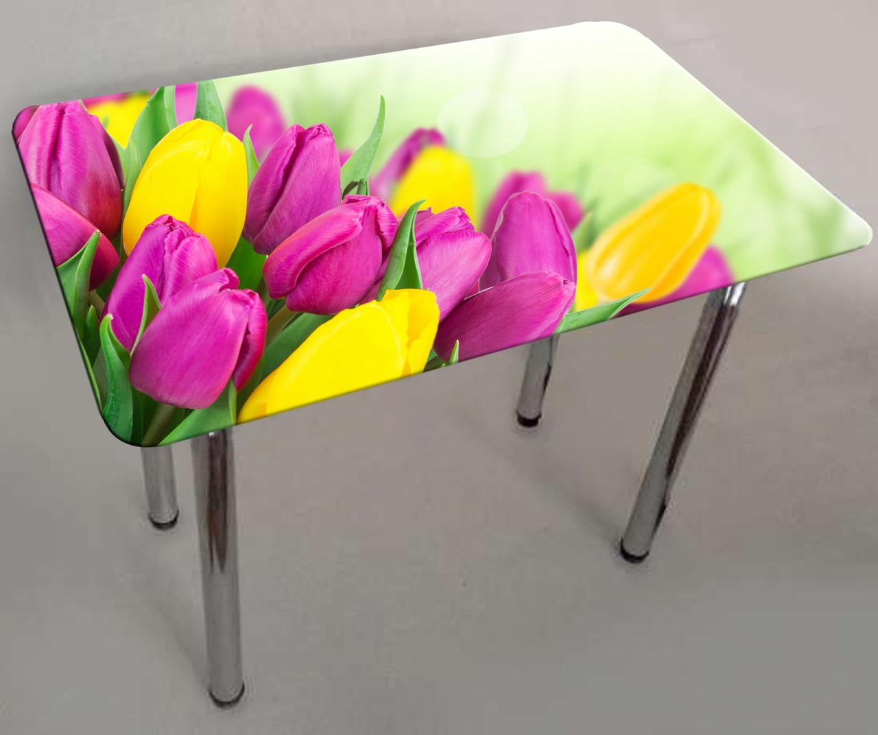 """Стол с фотопечатью на стекле """"Тюльпаны"""" прямоугольный"""