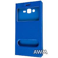 Чехол книжка с окошком для Samsung Galaxy J7 ( J700) синий