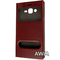 Чехол книжка с окошком для Samsung Galaxy J7 ( J700) коричневый