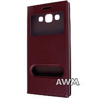 Чехол книжка с окошком для Samsung Galaxy E5 (E500H) коричневый