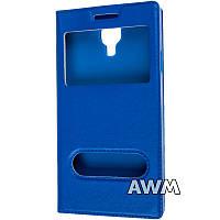 Чехол книжка с окошком для Samsung Galaxy S4 (I9500) синий