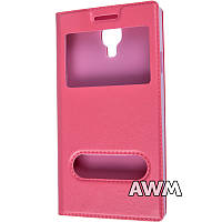 Чехол книжка с окошком для Samsung Galaxy S4 (I9500) розовый