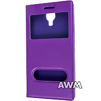 Чехол книжка для Samsung Galaxy S4 (I9500) с окошком фиолетовая